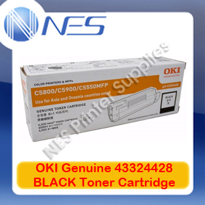 OKI Genuine 43324428 BLACK Toner Cartridge for C5550 MFP/C5800/C5900 (6K)