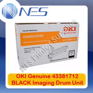 OKI Genuine 43381712 BLACK Imaging Drum Unit for C5600/C5700 (20K)