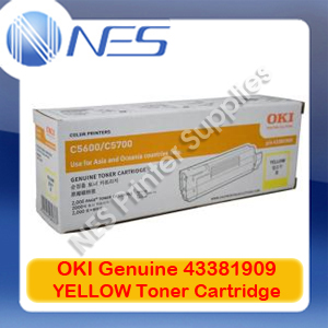 OKI Genuine 43381909 YELLOW Toner Cartridge for C5600/C5700 (2K)