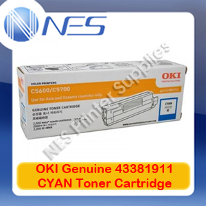 OKI Genuine 43381911 CYAN Toner Cartridge for C5600/C5700 (2K)