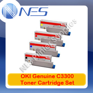 OKI Genuine 43459312-BK+43459353-43459355 C/M/Y (Set of 4) Toner Cartridge for C3300/C3400/C3600N