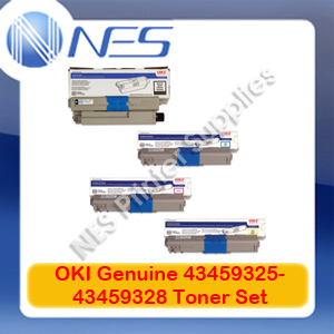 OKI Genuine 43459325-43459328 BK/C/M/Y (Set of 4) Toner Cartridge for C3520MFP/C3530MFP