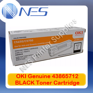 OKI Genuine 43865712 BLACK Toner Cartridge for C5650/C5750 (8K)
