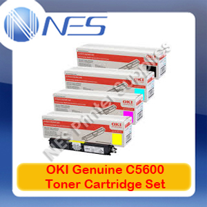 OKI Genuine 43324412-BK+43381909-43381911 C/M/Y (Set of 4) Toner Cartridge for C5600/C5700