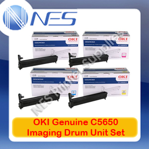OKI Genuine 43870009-43870012 BK/C/M/Y (Set of 4) Imaging Drum Unit for C5650/C5750 (20K)