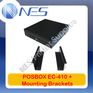 POSBOX EC-410 5 Note/8 Coin Cups Cash Drawer+Under Counter Mounting Brackets