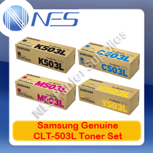Samsung Genuine CLT-503L BK/C/M/Y (Set of 4) Toner Cartridge for SL-C3010ND/SL-C3060FR