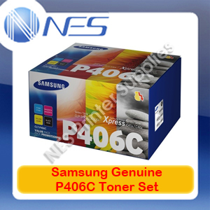 Samsung Genuine CLT-P406C BK/C/M/Y (Set of 4) Toner Cartridges for SL-C460FW/SL-C410W/CLX-3305FW/CLP-365 P406C