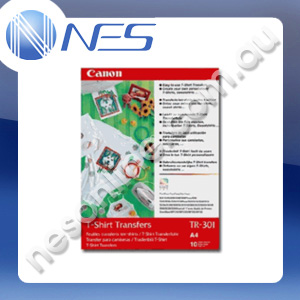 Canon A4 Iron-on TShirt transfers (10x Sheets) 147GSM Cold Peelsheets for All Bubble-Jet Printers [P/N:TR301A4]