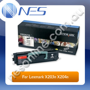 Lexmark X203A11G Genuine BLACK Toner Cartridge for X203n/X204n Mono Laser Printers 2.5K Pages Yield (P/N:X203A11G)