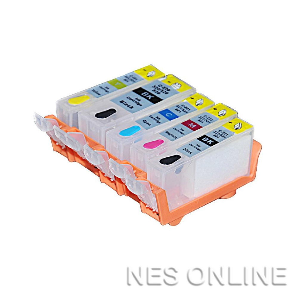Empty PGI-525/CLI-526 (x5) Refillable Cartridges for Canon IP4850/IP4950/MG5250/MG5350 Edible Ink Printers