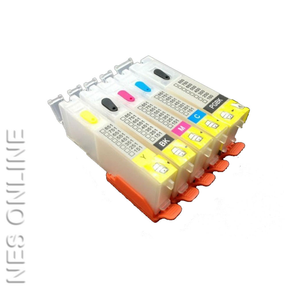 Empty PGI-650/CLI-651 (x5) Refillable Cartridges for Canon IP7260/IX6860/MX926 Edible Ink Printers