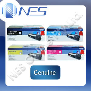 Brother Genuine TN340 Set of 4x toner Cartridge (C/M/Y/K) for DCP-9055CDN, HL-4150CDN, HL-4570CDW, MFC-9460CDN, MFC-9970CDW (2.5K/1.5K Page) TN-340